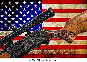 Vintage USA flag and rifle gun