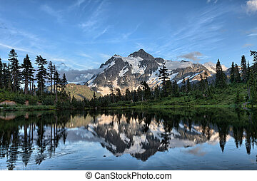 Picture Lake - Mt Shuksan with Picture Lake in foreground in...