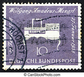 Postage stamp Germany 1956 Clavichord, Musical Instrument -...