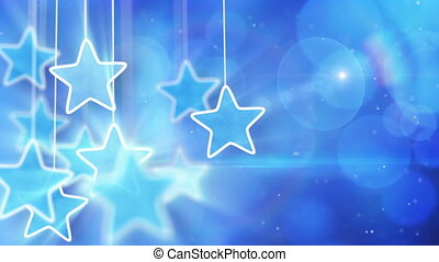 blue hanging stars and bokeh lights. computer generated...