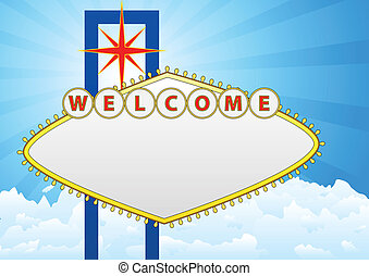 welcome - illustration of welcome billboard with sky and...