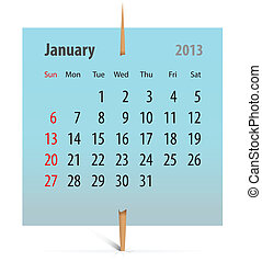 Calendar for January 2013 on a sticker attached with...