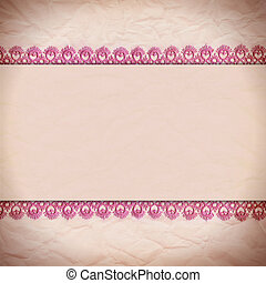 crumpled paper with a border of lace - Delicate pink...