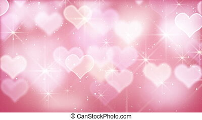 pink bokeh hearts and particles