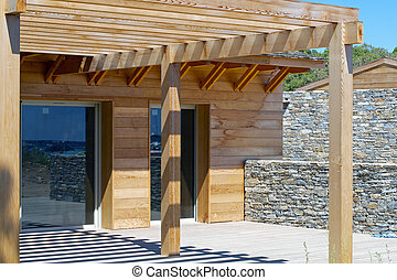Home Construction - Home construction with wood framing and...
