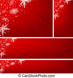 Red Xmas Banners - Christmas Illustration Set, Vector