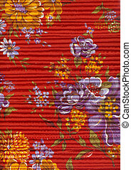 Quilted fabric with a bright floral pattern