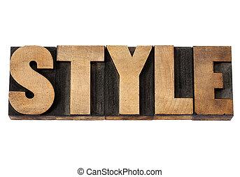 単語, スタイル, 木, タイプ