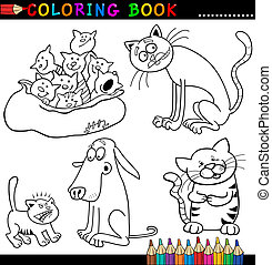 Cartoon Cats for Coloring Book or Page - Coloring Book or...
