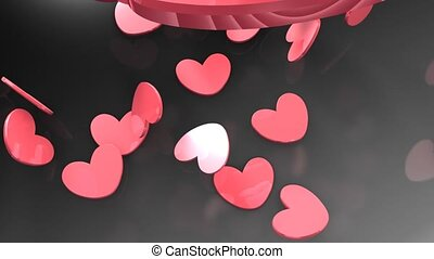 Heart chips dropping - CG animation, heart shaped chips...