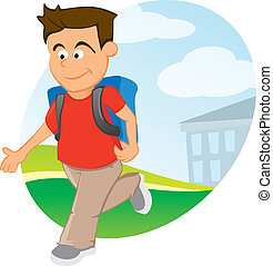 Boy with backpack