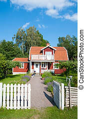 Red painted Swedish house - Traditional red painted wooden...