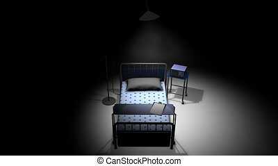 Hospital bed - Single hospital bed in a dark room.
