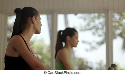 Pretty girls training, fitness gym - Young women talking and...