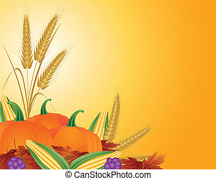 Fall Harvest Illustration - Fall Harvest with Wheat Grain...