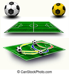 Collage Soccer field tactic table, map on perspective...