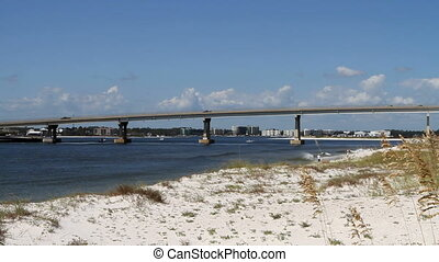 Perdido Pass Alabama - Traffic moves across the...