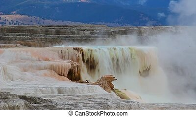Canary Spring of Yellowstone - Hot water flows from Canary...