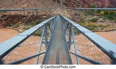 Walking Colorado River Bridge - First person view of walking...