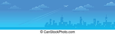 Cityskyline with Plane departing - This illustration is a...