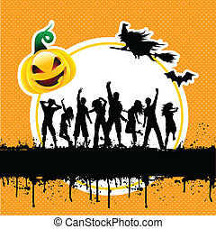 Halloween party background - Silhouettes of people dancing...