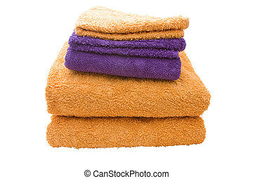 Bath Towels - A stack of yellow and purple bath towels...