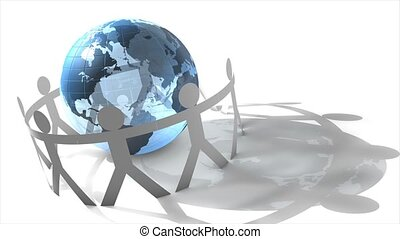 Human cut-out cicrling globe - Human figures circling the...