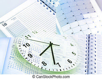 Time management - Clock face, calendars and diary pages