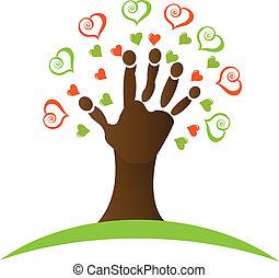 árbol, mano, Corazones, alrededor