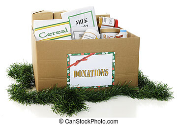 Donated Food for the Holidays - A large corrugated box...