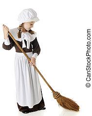Sweeping Pilgrim Girl