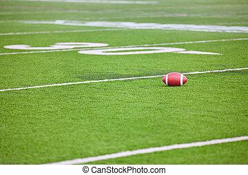 Football on Stadium Field - A dirty football on a...
