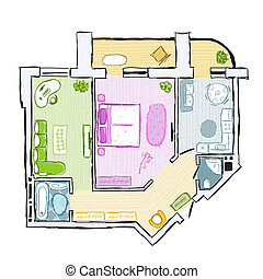 Sketch of design interior apartment, hand drawn vector illustration