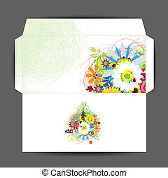 Envelope, floral style for your design
