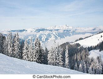 Mountains under snow. Ski resort Zell am See. Austria