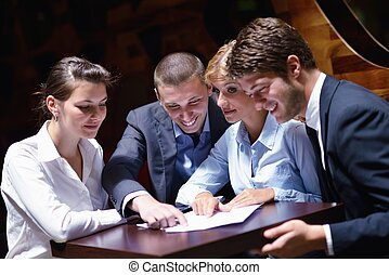 business people in a meeting at office - Group of happy...