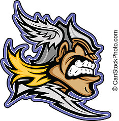 Titan Mascot with Winged Helmet Graphic Vector Illustration...