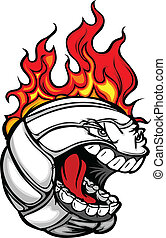 Volleyball Face with Flaming Hair Vector Image - Flaming...