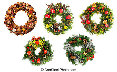 Christmas wreaths - Set of beautiful christmas wreaths...