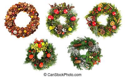 navidad, coronas