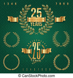 Anniversary golden emblems and decorative elements - vector...