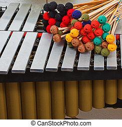 Marimba, colorido, mallets
