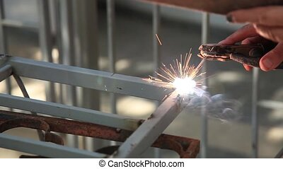 weld slow motion shoot - worker used weld