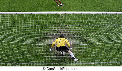Soccer goalie - Soccer goalkeeper (goalie) in action.