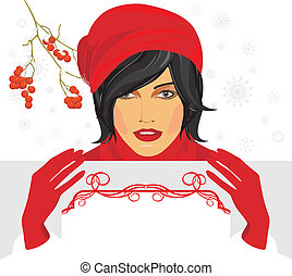 Brunette in a red cap with bsnner - Brunette in a red...