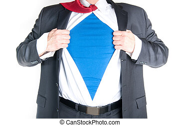 Business Man Superhero - Business man tearing shirt to...