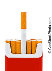 Grave made of cigarettes isolated on white background