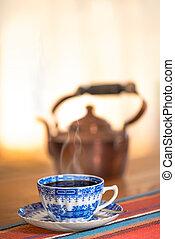 azul, café, caldera, taza