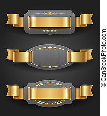 Metal frames with golden ribbons - Ornate metal frames with...