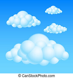 Cartoon clouds - Cartoon Bubble Clouds Illustration on white...
